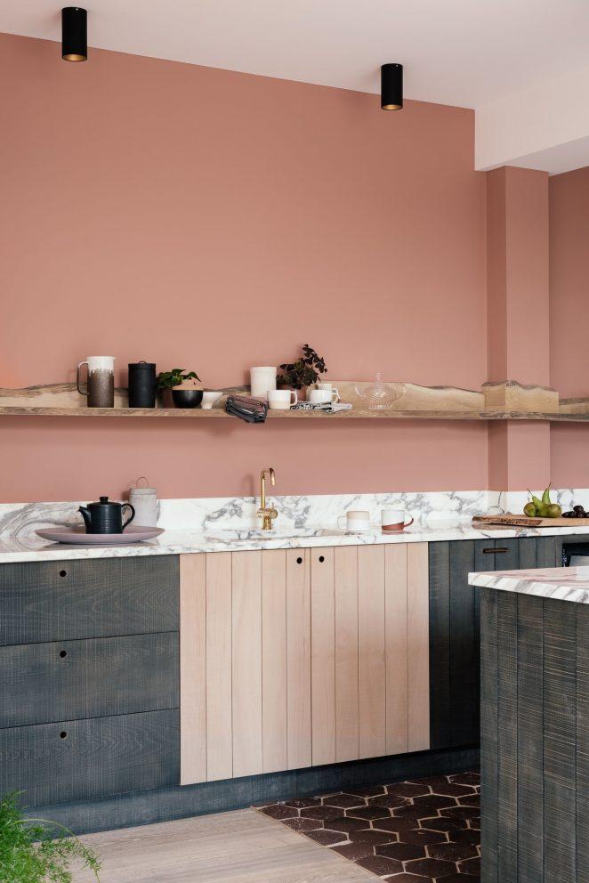 Terracotta trendy kitchen paint color